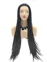 Недорогие -Синтетические кружевные передние парики / Дреды / Faux Locs переплетенный Черный Стрижка каскад / тесьма Черный / коричневый 130% Человека Плотность волос Искусственные волосы 24 дюймовый Жен.