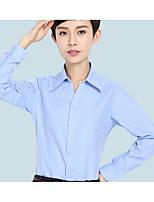 Недорогие -Жен. Офис Большие размеры - Рубашка Рубашечный воротник Тонкие Однотонный