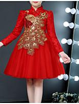 Недорогие -Дети Девочки Классический Однотонный Длинный рукав Платье Красный