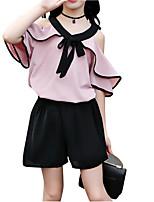 Недорогие -Дети Девочки Активный / Изысканный Однотонный Оборки С короткими рукавами Искусственный шёлк / Полиэстер Набор одежды Белый