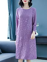 Недорогие -Жен. Прямое Платье - Однотонный, Вышивка Средней длины
