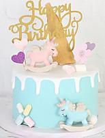 Недорогие -Украшения для торта Классика / Праздник / единорог Художественные / Ретро / Уникальный дизайн ABS смолы Свадьба / День рождения с Планка 1 pcs Пенополиуретан
