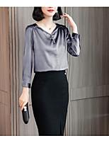 Недорогие -женская рубашка азиатского размера - сплошной цвет V-образным вырезом