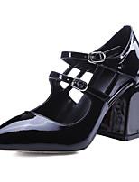 Недорогие -Жен. Наппа Leather Весна Милая / Минимализм Обувь на каблуках На толстом каблуке Круглый носок Пайетки Белый / Черный / Красный