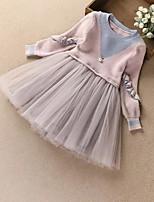 Недорогие -Дети Девочки Винтаж / Активный Однотонный Длинный рукав Платье Розовый