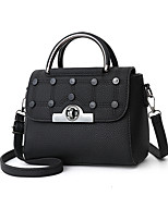 cheap -Women's Polyester / PU Top Handle Bag Solid Color Black / Brown / Blushing Pink
