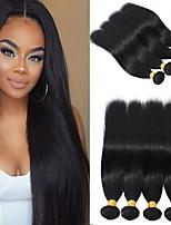 Недорогие -6 Связок Бразильские волосы Прямой человеческие волосы Remy Головные уборы Человека ткет Волосы Сувениры для чаепития 8-28 дюймовый Естественный цвет Ткет человеческих волос