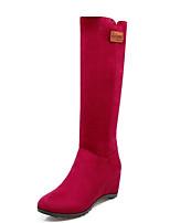 Недорогие -Жен. Синтетика Осень Милая / Минимализм Ботинки На толстом каблуке Круглый носок Сапоги до середины икры Синий / Винный / Темно-коричневый