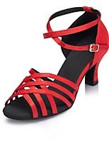 Недорогие -Жен. Обувь для латины Сатин На каблуках Планка Кубинский каблук Персонализируемая Танцевальная обувь Черный / Красный
