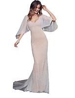 Недорогие -Жен. Элегантный стиль Оболочка Платье - Однотонный, Сетка Макси