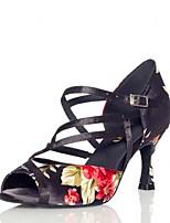 Недорогие -Жен. Обувь для латины Сатин Сандалии / На каблуках Пряжки / Блеск Тонкий высокий каблук Персонализируемая Танцевальная обувь Черный / Красный
