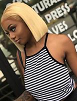 Недорогие -человеческие волосы Remy Лента спереди Парик Бразильские волосы Естественный прямой Блондинка Парик Стрижка боб 130% Плотность волос Модный дизайн Мягкость Sexy Lady Cool Удобный Блондинка Жен.