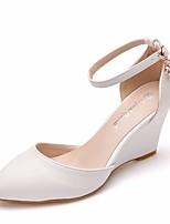 abordables -Femme Polyuréthane Printemps & Automne / Printemps été Doux Chaussures de mariage Hauteur de semelle compensée Bout pointu Boucle Blanc / Mariage