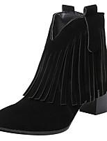 Недорогие -Жен. Замша Наступила зима Милая / Минимализм Ботинки На толстом каблуке Круглый носок Ботинки С кисточками Черный / Серый / Коричневый