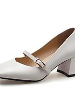 Недорогие -Жен. Наппа Leather Весна На каждый день / Минимализм Обувь на каблуках На низком каблуке Квадратный носок Пряжки Черный / Бежевый