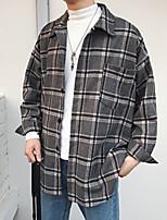 Недорогие -Муж. Повседневные Уличный стиль Осень Обычная Куртка, Гусиная лапка Рубашечный воротник Длинный рукав Полиэстер Серый / Лиловый M / L / XL