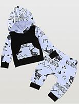 Недорогие -малыш Мальчики Уличный стиль Повседневные С принтом Длинный рукав Обычный Полиэстер Набор одежды Черный