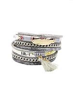 Недорогие -Жен. Многослойный Кожаные браслеты - Богемные, европейский, модный, Мода Браслеты Бижутерия Черный / Серый / Синий Назначение Подарок Карнавал