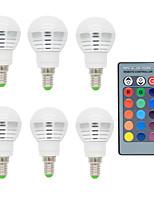 Недорогие -6шт 2w e14 RGB светодиодные шариковые лампы с дистанционным управлением 16 изменение цвета ac85-265v