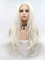 Недорогие -Синтетические кружевные передние парики Жен. Крупные кудри / Loose Curl Белый Стрижка каскад 130% Человека Плотность волос Искусственные волосы 24 дюймовый Женский Белый Парик Длинные Лента спереди