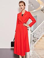 Недорогие -Жен. Элегантный стиль С летящей юбкой Платье - Однотонный Средней длины