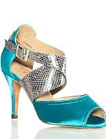 Недорогие -Жен. Обувь для латины Сатин На каблуках Планка Тонкий высокий каблук Персонализируемая Танцевальная обувь Черный / Синий