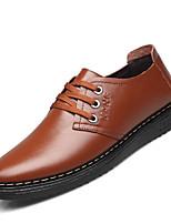 Недорогие -Муж. Официальная обувь Кожа Весна лето Классика / Английский Туфли на шнуровке Нескользкий Лозунг Черный / Коричневый