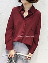 Недорогие -Жен. Большие размеры - Рубашка V-образный вырез Однотонный