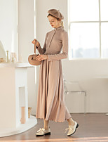 Недорогие -Жен. Элегантный стиль А-силуэт Платье - Однотонный Средней длины
