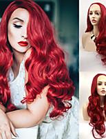 Недорогие -Синтетические кружевные передние парики Волнистые Красный Стрижка каскад Красный зеленый 130% Человека Плотность волос Искусственные волосы 24 дюймовый Жен. Женский Красный Парик Длинные Лента спереди