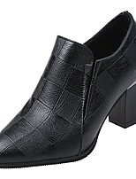 Недорогие -Жен. Полиуретан Весна Ботинки На толстом каблуке Заостренный носок Черный / Коричневый