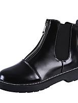 Недорогие -Жен. Полиуретан Зима На каждый день Ботинки На низком каблуке Круглый носок Сапоги до середины икры Черный