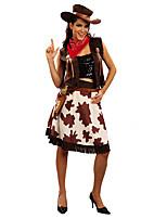 Недорогие -Westworld Вест Ковбой Ковбойские костюмы Взрослые Жен. Инвентарь Рождество Хэллоуин Карнавал Фестиваль / праздник Полиэстер Кофейный Карнавальные костюмы Рисунок
