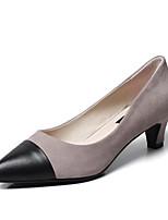 Недорогие -Жен. Замша Весна Милая / Минимализм Обувь на каблуках На низком каблуке Заостренный носок Черный / Коричневый / Светло-серый