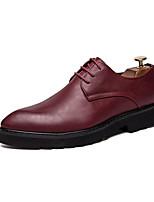 Недорогие -Муж. Официальная обувь Искусственная кожа Весна & осень Английский Туфли на шнуровке Винный / Свадьба / Для вечеринки / ужина