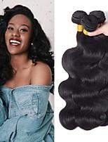 Недорогие -3 Связки Бразильские волосы Индийские волосы Естественные кудри Не подвергавшиеся окрашиванию Головные уборы Человека ткет Волосы Сувениры для чаепития 8-28 дюймовый Естественный цвет