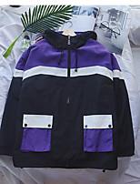 Недорогие -Муж. Повседневные Классический Осень Обычная Куртка, Однотонный / Контрастных цветов Капюшон Длинный рукав Хлопок / Полиэстер Зеленый / Лиловый M / L / XL