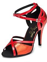 Недорогие -Жен. Обувь для латины Искусственная кожа На каблуках Планка Тонкий высокий каблук Персонализируемая Танцевальная обувь Золотой / Красный / Синий