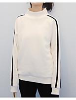 Недорогие -тонкая толстовка женская с длинным рукавом - сплошной цвет шею белый с