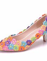 abordables -Femme Dentelle / Polyuréthane Printemps & Automne Doux Chaussures de mariage Kitten Heel Bout pointu Strass / Fleur en Satin Arc-en-ciel / Mariage
