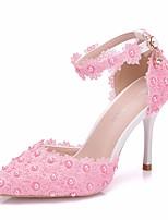 abordables -Femme Dentelle / Polyuréthane Printemps été Doux Chaussures de mariage Talon Aiguille Bout pointu Imitation Perle / Boucle Rose / Mariage
