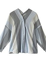 Недорогие -женская рубашка азиатского размера - цвет блок воротник