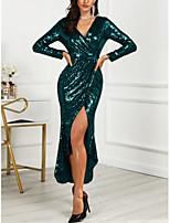 baratos -Mulheres Elegante Bainha Vestido - Paetês, Sólido Assimétrico
