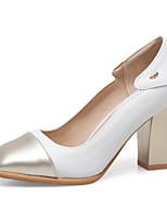 Недорогие -Жен. Искусственная кожа Весна лето Обувь на каблуках На толстом каблуке Квадратный носок Белый / Черный
