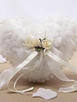abordables -Satin / Tulle Imitation Perle / Fleur Soie Oreiller d'anneau Mariage Toutes les Saisons