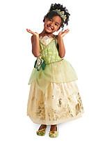 Недорогие -Принцесса тиана Платья Косплей из фильмов Зеленый Платье Рождество Хэллоуин День детей Хлопок Полиэстер
