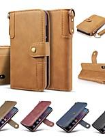 Недорогие -Кейс для Назначение Huawei Huawei P20 / Huawei P20 Pro / Huawei P20 lite Кошелек / Бумажник для карт / Защита от удара Чехол Однотонный Твердый Настоящая кожа