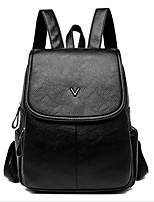 Недорогие -Жен. Мешки PU рюкзак Молнии Сплошной цвет Черный / Винный