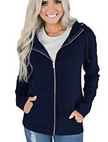 Недорогие -Жен. Классический толстовка с капюшоном куртки - Однотонный