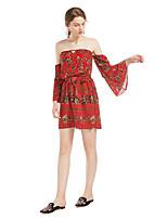 Недорогие -Жен. Повседневные Красный Комбинезоны, Геометрический принт С принтом M L XL Длинный рукав